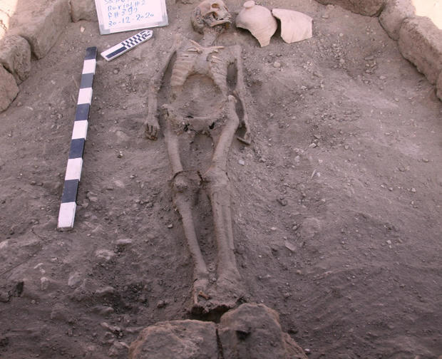 A skeletal human remain is seen in Luxor