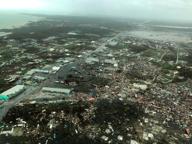 Aerial view shows devastation after hurricane Dorian hit the Abaco Islands in the Bahamas