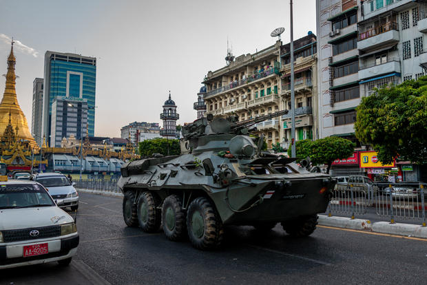 Armored military vehicles appear on the streets of Yangon