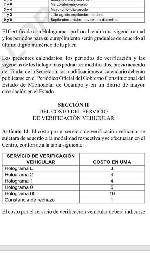 Conoce el costo del Programa de verificación vehicular para este 2019