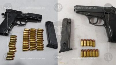PM Uruapan asegura a seis masculinos en posesión de arma de fuego