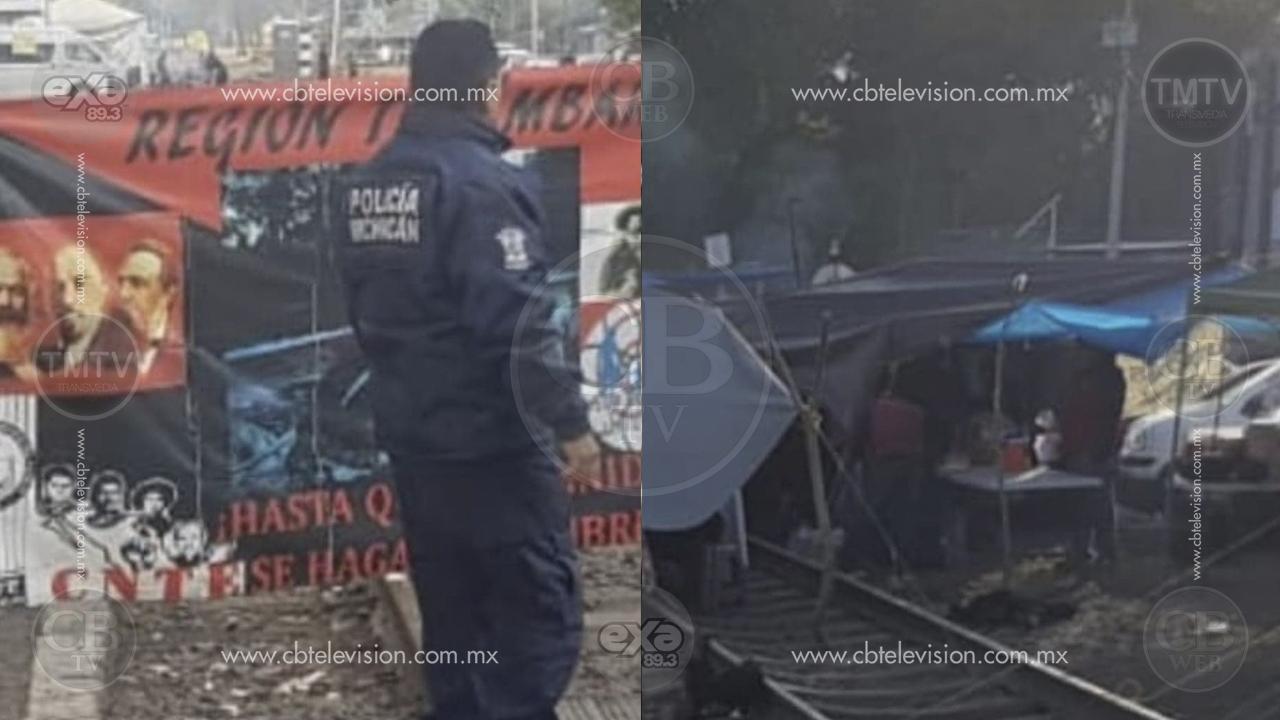 CNTE retira bloqueo en las vías del tren en Pátzcuaro y permanecen con cierre en Uruapan