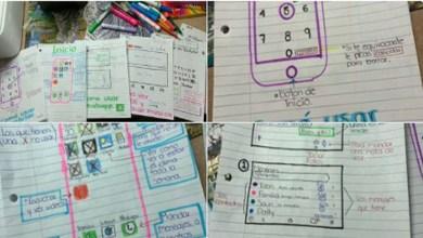 Dibuja una guía a su abuelita para que aprenda a usar el celular