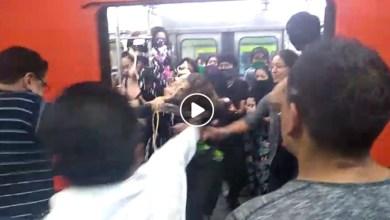 Video: Hombres agreden a feministas en el metro de la Ciudad de México