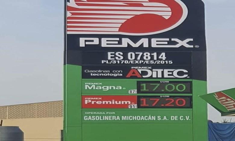 Gasolina a 17 pesos el litro en Uruapan