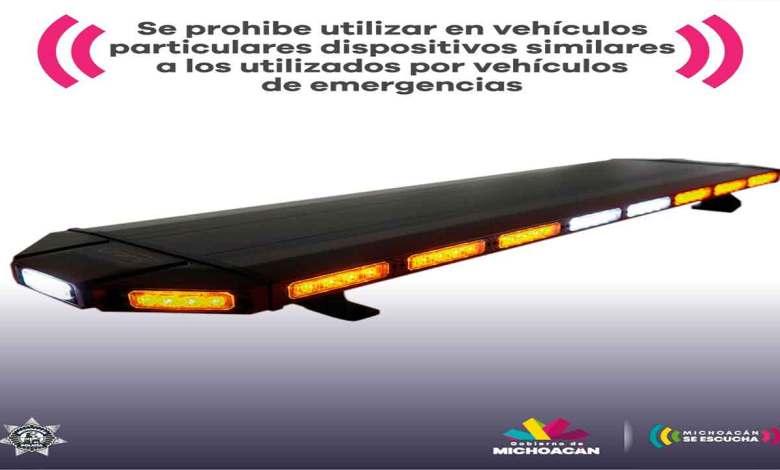 Multa de 3 mil 80 pesos por utilizar dispositivos similares a vehículos policiales o de emergencias: SSP