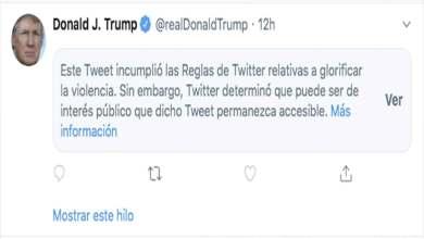 "Photo of Twitter marca tuit de Donald Trump por ""glorificar la violencia"""