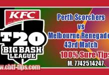 BBL 43rd Match Perth vs Renegades 100% Sure Shot Win Tips Non Cutting