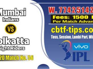 Lagai Khai MI vs KKR 56th Match Prediction & Betting Tips - IPL Match Today