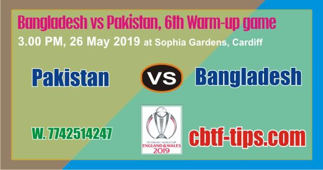 PAK vs BAN Warm UP CWC19 Match Prediction & Betting Tips