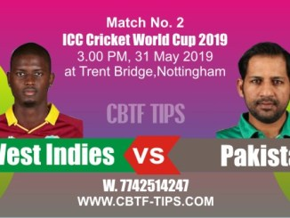 World Cup 2019 PAK vs WI Match No. 2 Prediction & Betting Tips