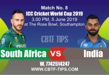 2019 World Cup IND vs SA 8th Match Prediction Betting Tips