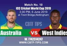 World Cup 2019 AUS vs WI 10th Match Reports Betting Tips