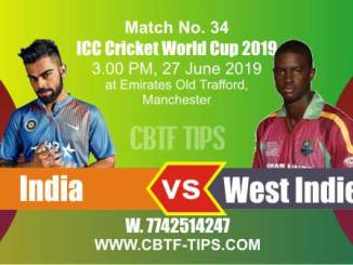 World Cup 2019 Ind vs WI 34th Match Reports Betting Tips