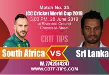 World Cup 2019 SL vs SA 35th Match Reports Betting Tips