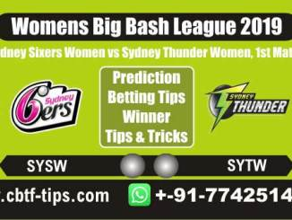 SYSW vs SYTW 1st Cricket Betting Tips WBBL 2019 Match Prediction