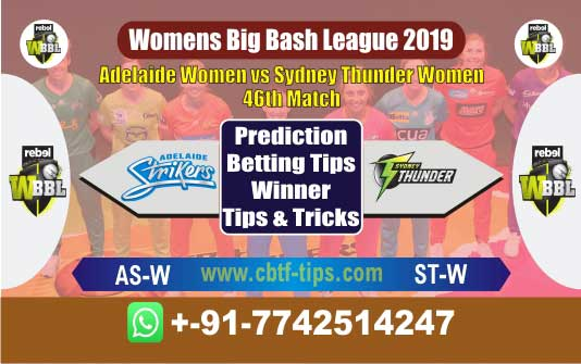 AS-W vs ST-W 46th Womens Big Bash League 2019 Match Reports Cricket Betting Tips