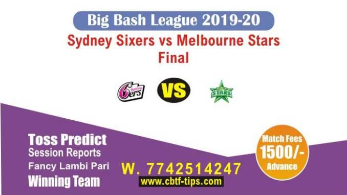Six vs Sta Big Bash League Final Match Sure Fixed Betting Tips CBTF