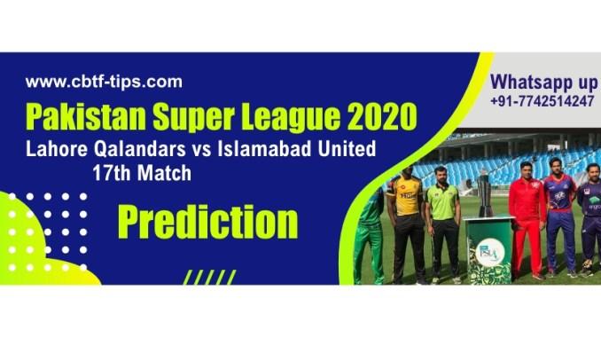 Lahore vs Islamabad 17th PSL T20 Sure Winner Betting Tips CBTF Toss