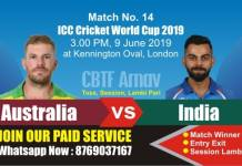 World Cup 2019 Match 14th Ind vs Aus Today Match Prediction