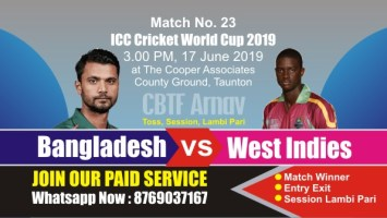 World Cup 2019 Match 23rd Ban vs WI Today Match Prediction