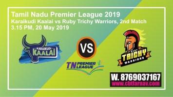 TNPL 2019 2nd Match KK vs RTW Today Prediction Toss Fency