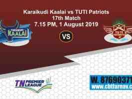 TNPL 2019 KAR vs TUT 17th Match Report Today Toss Lambi Pari