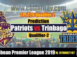 Trinbago vs Barbados Qualifier 2 CPL 2019 Today Match Prediction Cricket Betting Tips
