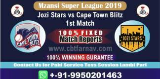 JOZ vs CTB 1st MSL T20 2019 Today Match Prediction Cricket Betting Tips