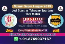 Spartans vs Jozi Match Prediction Reports & Betting Tips -16th Match MSL 2019