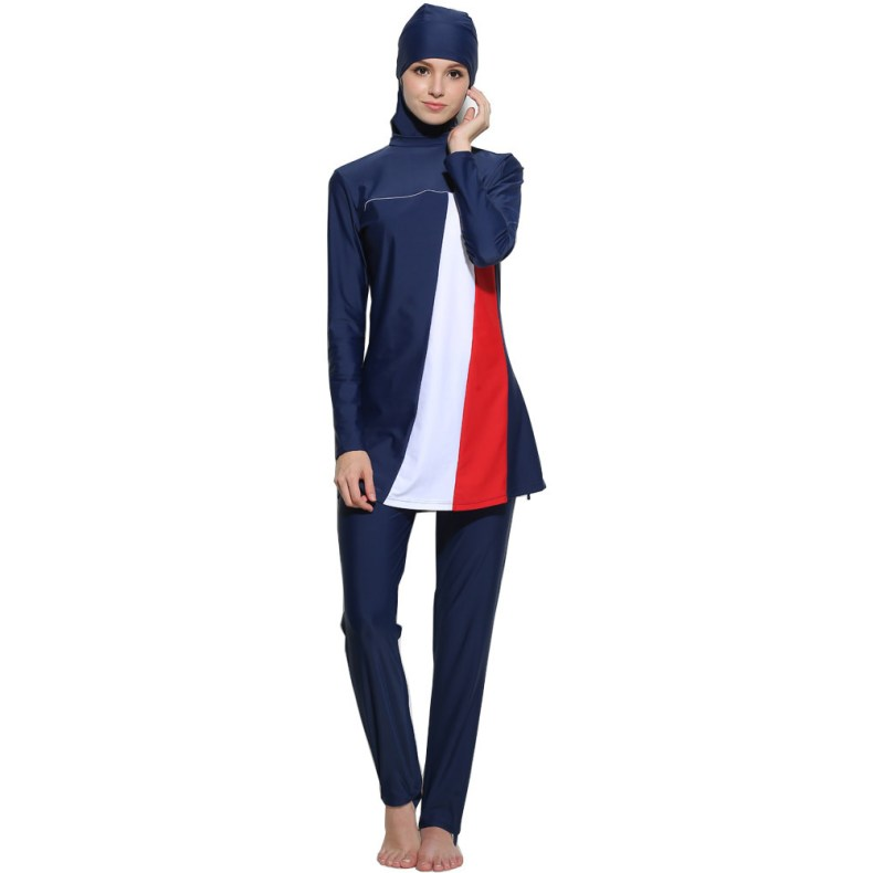 Women Stripe Printed Muslim Swimwear Hijab  Islamic Plus Size Swimsuit Swim Surf Wear Sport Burkinis 5xl 6XL