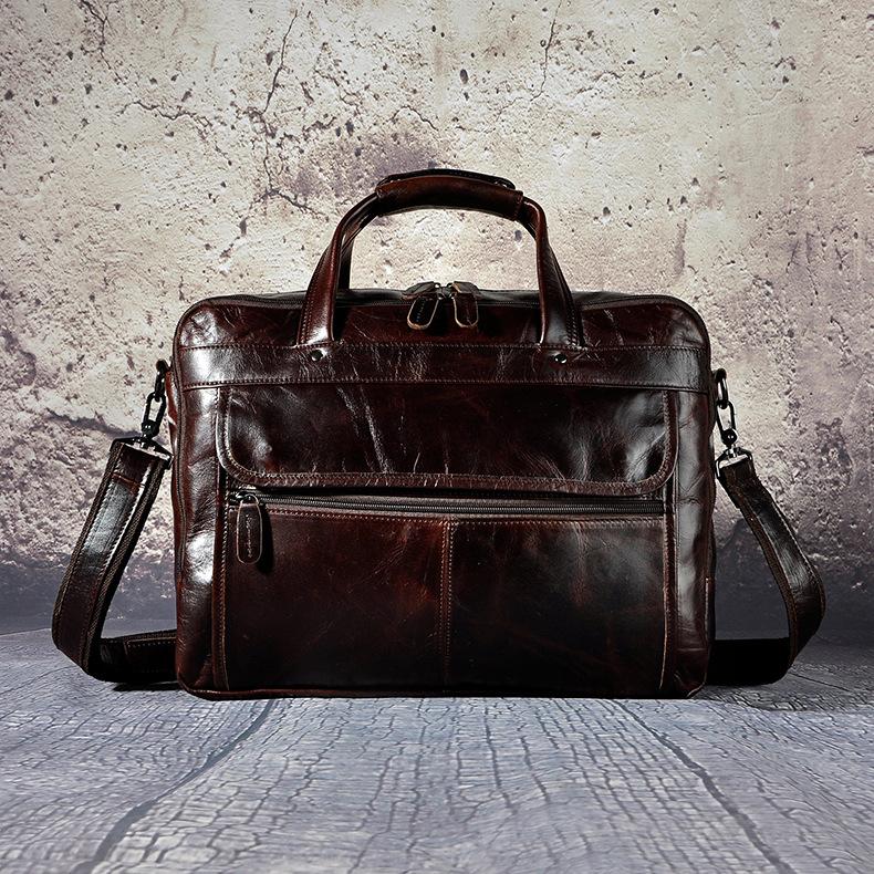 4606428031 2068518898 Men Oil Waxy Leather Antique Design Business Briefcase Laptop Document Case Fashion Attache Messenger Bag Tote Portfolio 7146