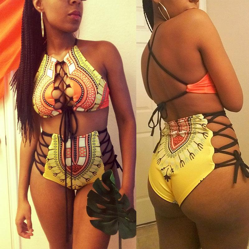 Plus Size Women Sexy African Print Bandage High Waist Beach Bathing Swimsuit 2pc