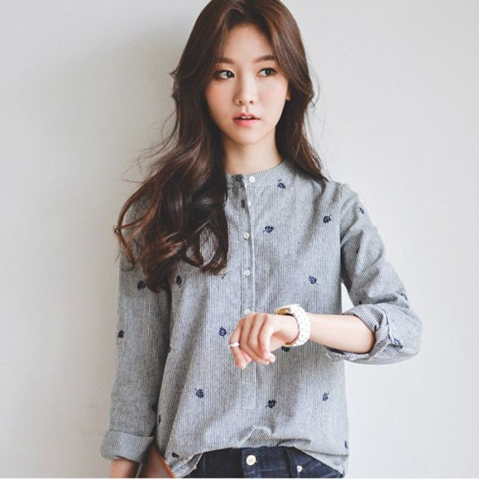Lady Blouse Vlent Leaves Embroidery Autumn Tops Cotton