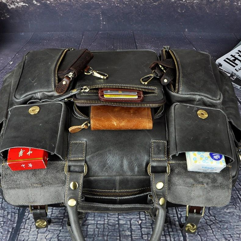 """7009079997 2068518898 Men Real Leather Antique Large Capacity Travel Briefcase Business 15.6"""" Laptop Case Attache Messenger Bag Portfolio 3061-b"""