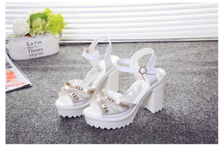 8547699130 1249109371 ELGEER 2019 new thick with sandals female summer diamond fish mouth thick bottom muffin waterproof platform with high