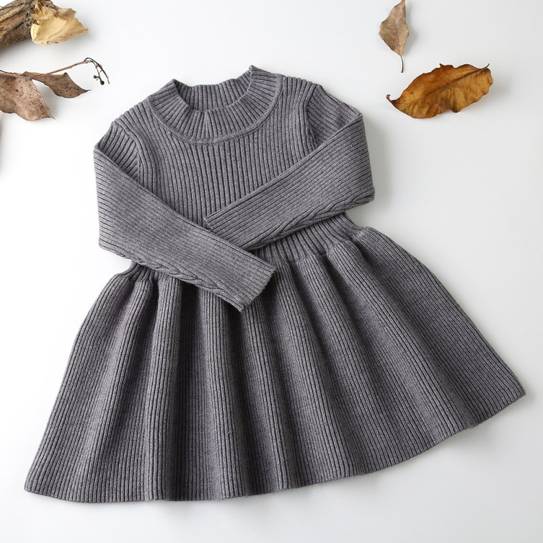 9276000601 303410146 Girls Knitted Dress 2019 autumn winter Clothes Lattice Kids Toddler baby dress for girl princess Cotton warm Christmas Dresses