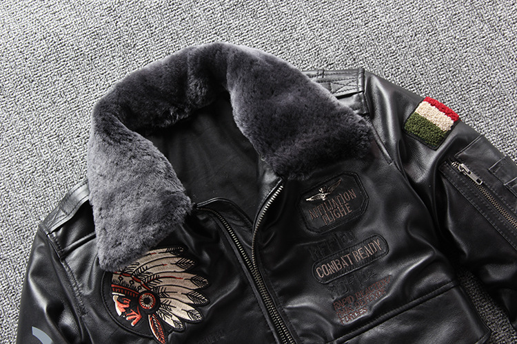 10106782321 617227679 2019 New Men Embroidery Indian Skull Air force flight A1 Pilot Sheepskin Jacket Casual Wool collar Real leather jacket S-XXXL