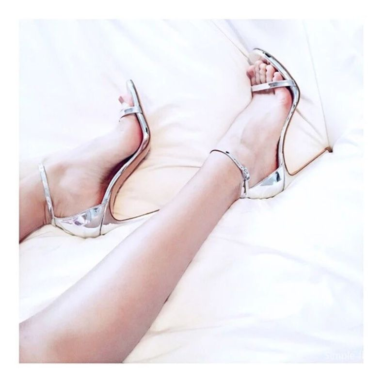 9083951731 855635146 LTARTA Shoes women's Shoes Sandals With Buckle High Heels Gold And Silver Wedding Shoes Large Size 43 ZL-300-7