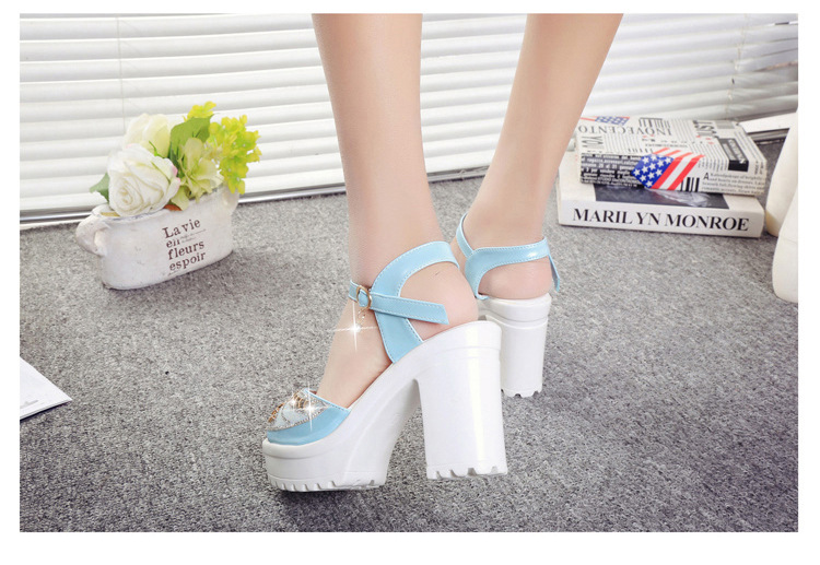 8567188751 1249109371 ELGEER 2019 new thick with sandals female summer diamond fish mouth thick bottom muffin waterproof platform with high