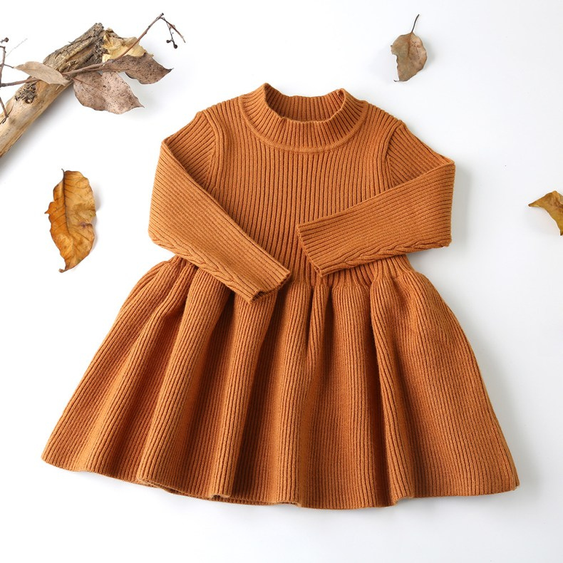 9275982951 303410146 Girls Knitted Dress 2019 autumn winter Clothes Lattice Kids Toddler baby dress for girl princess Cotton warm Christmas Dresses