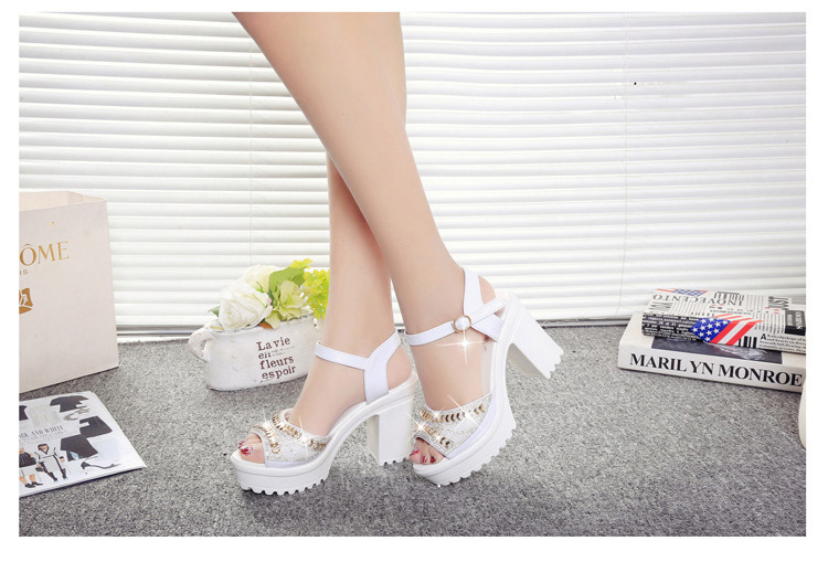 8547660482 1249109371 ELGEER 2019 new thick with sandals female summer diamond fish mouth thick bottom muffin waterproof platform with high
