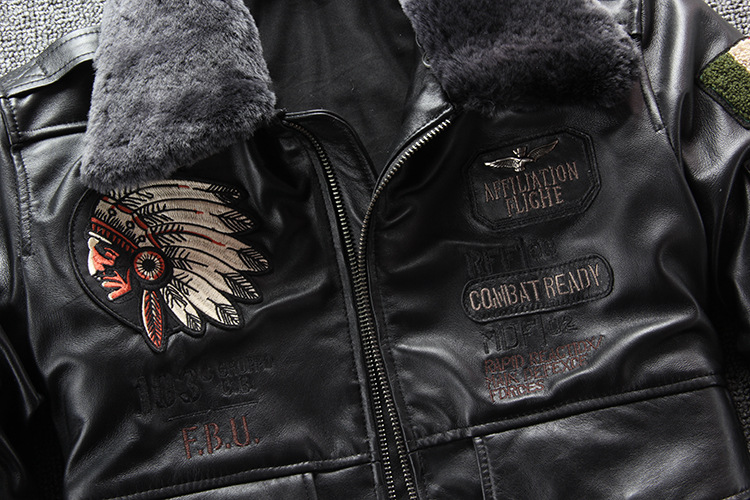 10079373274 617227679 2019 New Men Embroidery Indian Skull Air force flight A1 Pilot Sheepskin Jacket Casual Wool collar Real leather jacket S-XXXL