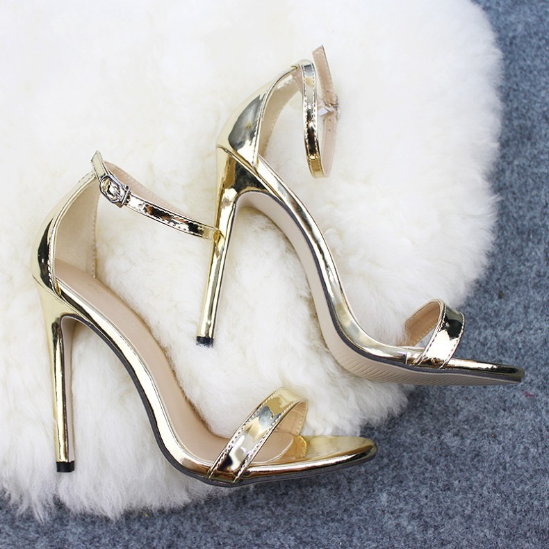 9072695084 855635146 LTARTA Shoes women's Shoes Sandals With Buckle High Heels Gold And Silver Wedding Shoes Large Size 43 ZL-300-7