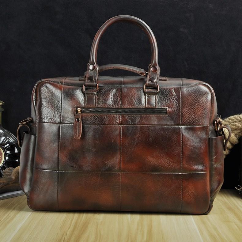 """9536127097 2068518898 Men Real Leather Antique Large Capacity Travel Briefcase Business 15.6"""" Laptop Case Attache Messenger Bag Portfolio 3061-b"""
