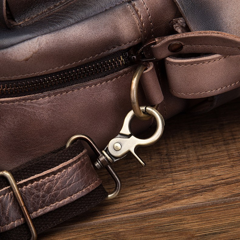 """9657633748 2068518898 Men Real Leather Antique Large Capacity Travel Briefcase Business 15.6"""" Laptop Case Attache Messenger Bag Portfolio 3061-b"""