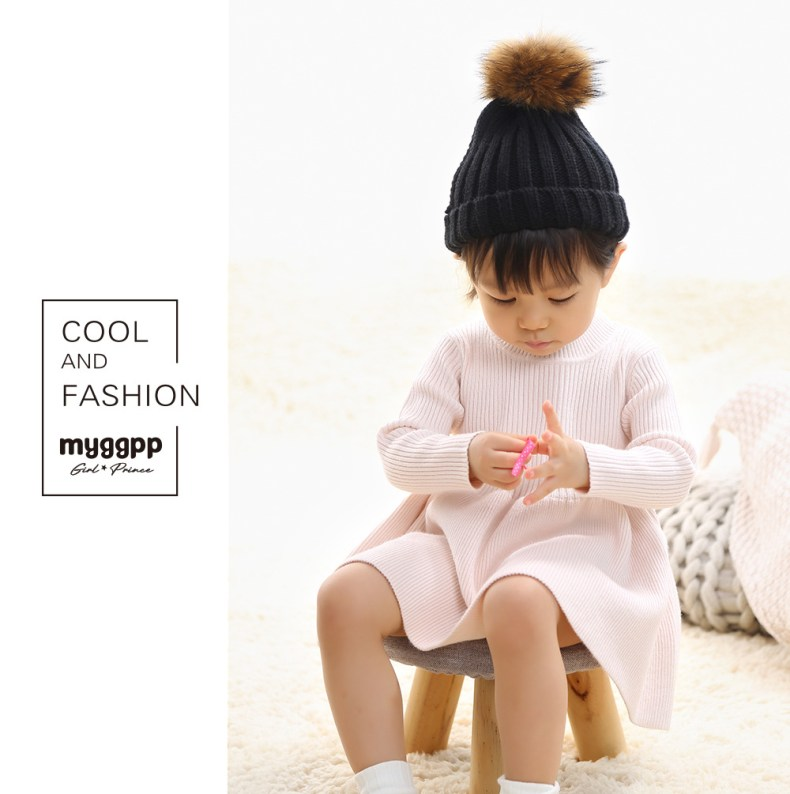 9300250458 303410146 Girls Knitted Dress 2019 autumn winter Clothes Lattice Kids Toddler baby dress for girl princess Cotton warm Christmas Dresses