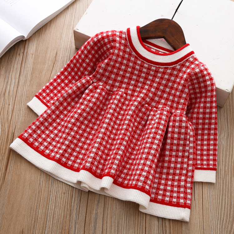 9056748458 2069268434 Girls Knitted Dress 2019 autumn winter Clothes Lattice Kids Toddler baby dress for girl princess Cotton warm Christmas Dresses