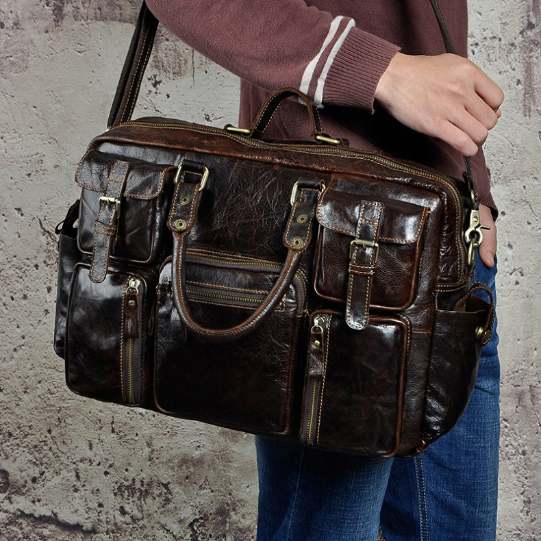 8429303759 2068518898 Original leather Men Fashion Handbag Business Briefcase Commercia Document Laptop Case Design Male Attache Portfolio Bag 3061-bu