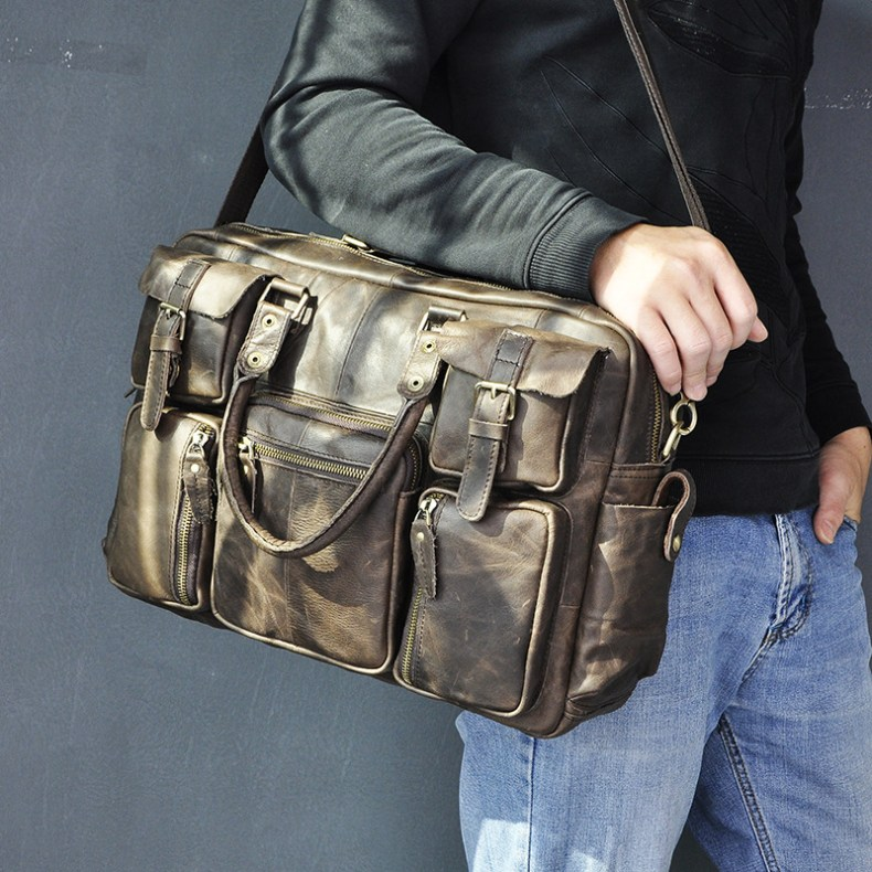 13068098781 2068518898 Original leather Men Fashion Handbag Business Briefcase Commercia Document Laptop Case Design Male Attache Portfolio Bag 3061-bu